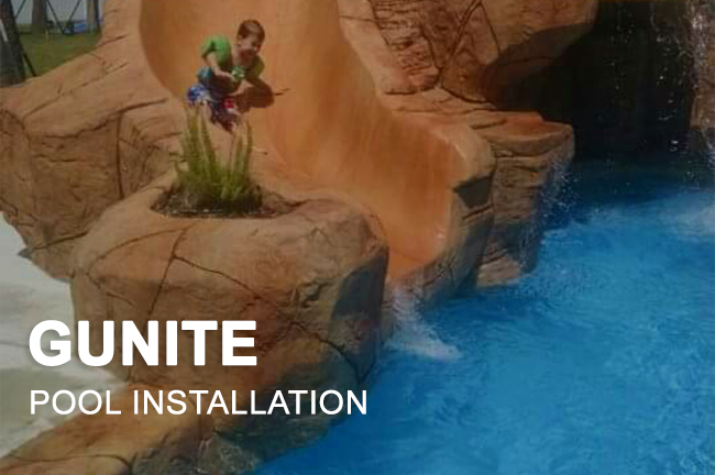 gunite swimming pool installation